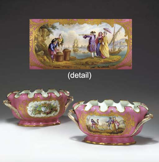 A PAIR OF SEVRES STYLE PINK-GR