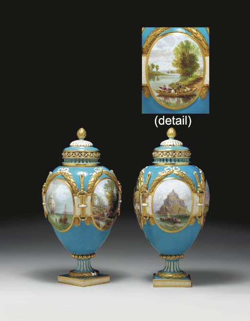 A PAIR OF MINTON RETICULATED T