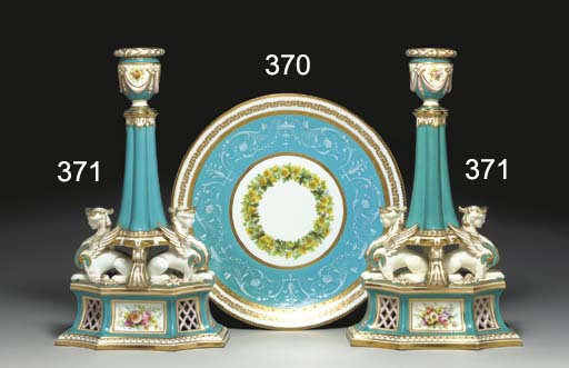 A PAIR OF ENGLISH TURQUOISE-GR