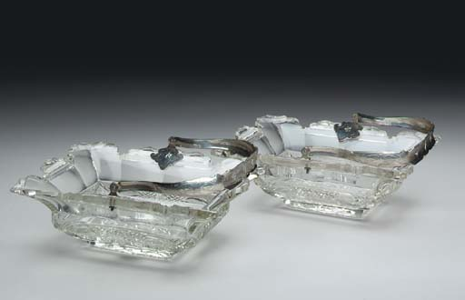 A PAIR OF SILVER-MOUNTED CUT-G