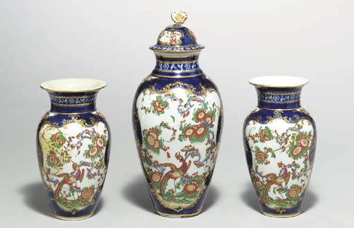 A GARNITURE OF THREE WORCESTER