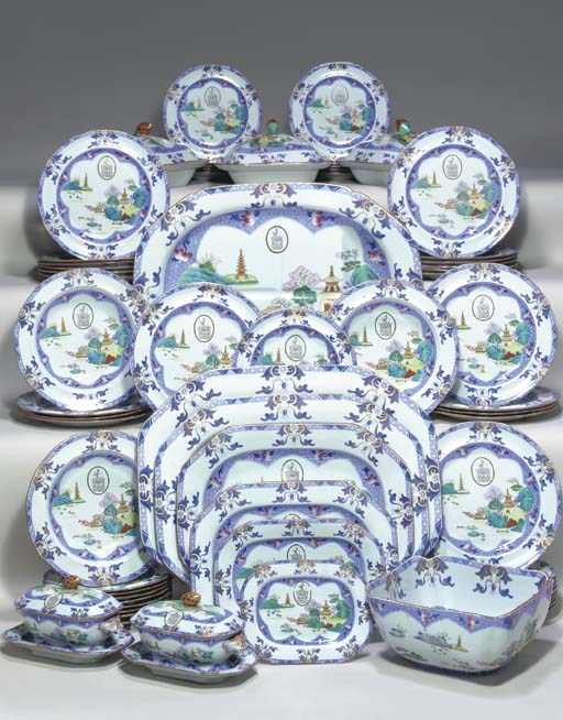 A SPODE IRONSTONE CRESTED PART