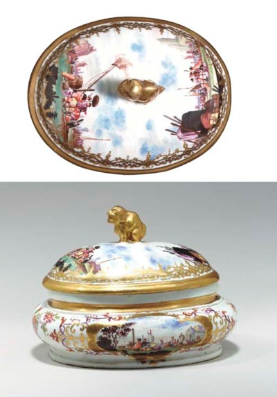 A MEISSEN SUGAR-BOX AND COVER