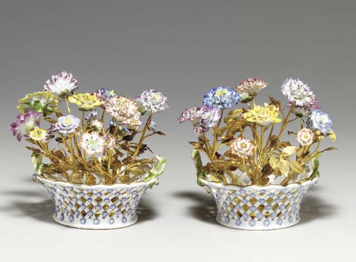 A PAIR OF MEISSEN FLOWER BASKE