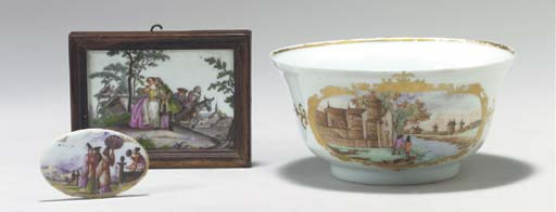 A MEISSEN SNUFF-BOX COVER AND