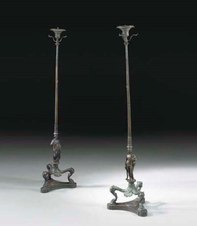 A PAIR OF ITALIAN PATINATED BR