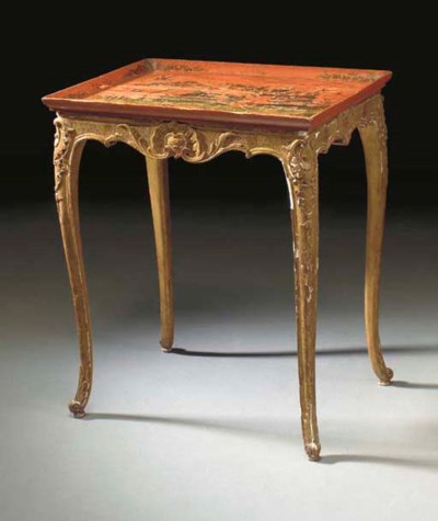 A FRENCH GILTWOOD AND RED LACQ