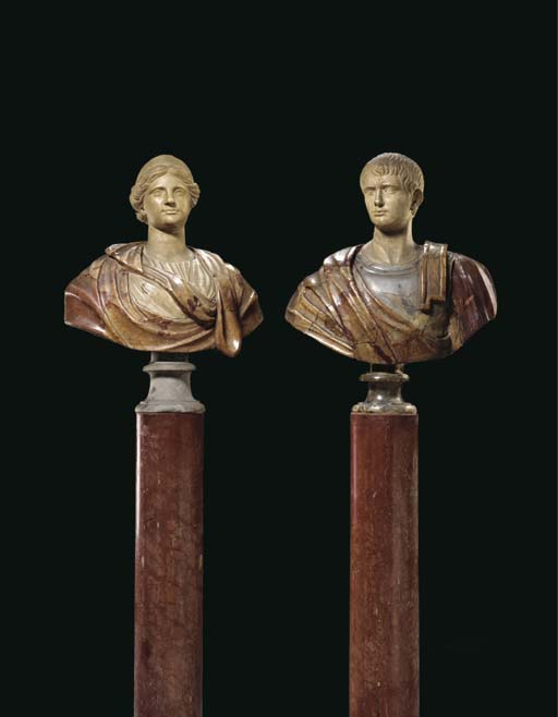 A MATCHED PAIR OF ROMAN WHITE,