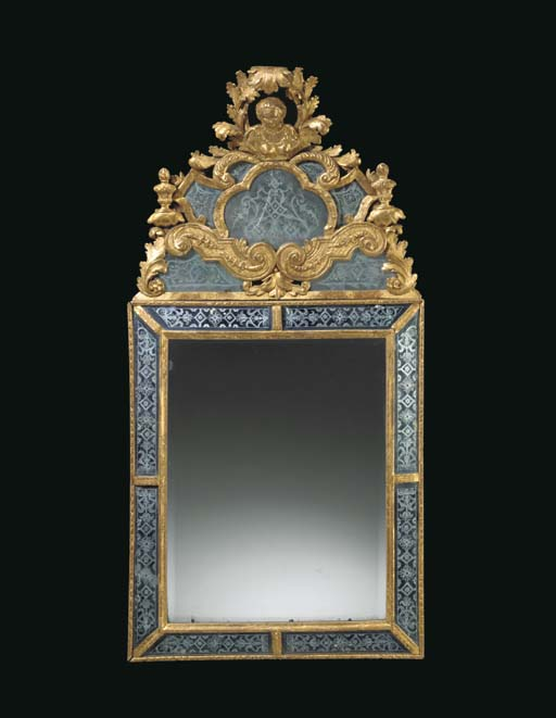 A SWEDISH GILTWOOD AND ETCHED