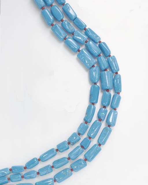 **A THREE-STRAND TURQUOISE AND