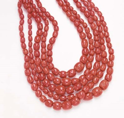 **A FIVE-STRAND CORAL NECKLACE