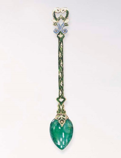 AN INDIAN EMERALD AND ENAMEL S