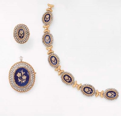 A SET OF DIAMOND, ENAMEL AND G