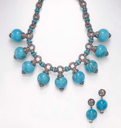 A SUITE OF TURQUOISE, COLORED