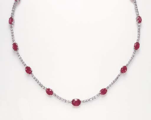 A RUBY AND DIAMOND LINE NECKLA