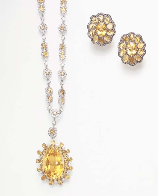 A SUITE OF CITRINE AND DIAMOND