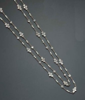 A DIAMOND AND SEED PEARL LONGC
