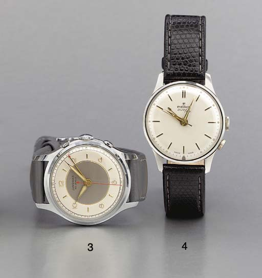 Pierce. A stainless steel wristwatch with sweep center seconds and alarm