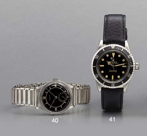 Rolex. A rare stainless steel wristwatch with black dial and bracelet