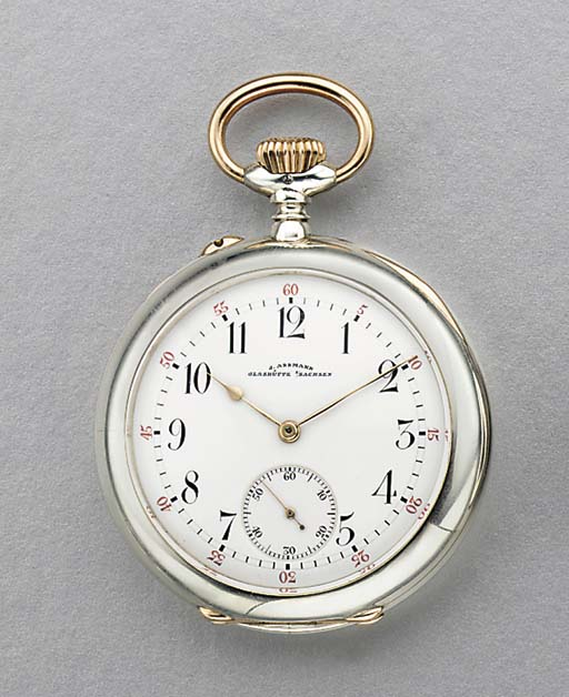 Assmann. A fine silver and pink gold openface keyless lever watch