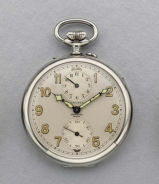 Longines. A stainless steel openface keyless lever watch with alarm