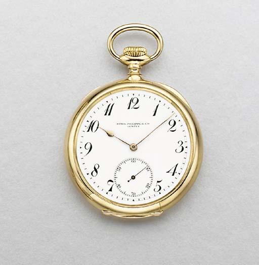 Patek Philippe. A fine 18K gold openface keyless lever watch