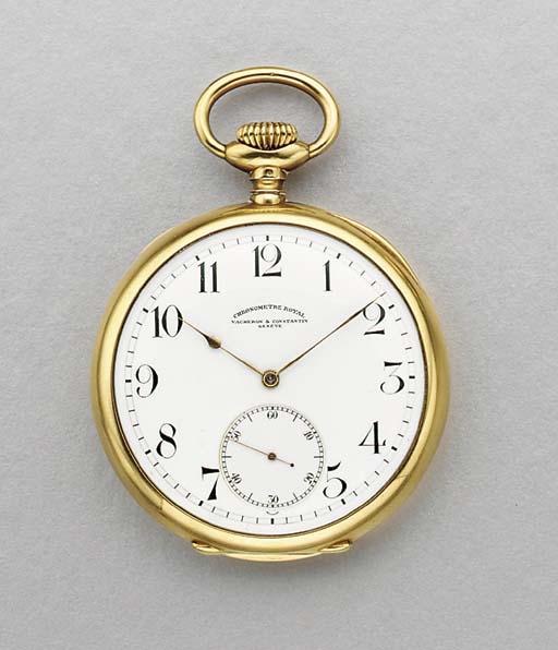 Vacheron & Constantin. A large 18K gold openface keyless lever watch