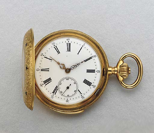 Swiss. An 18K gold and enamel hunter case minute repeating keyless lever watch