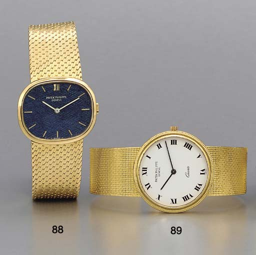 Patek Philippe. An 18K gold oval-shaped wristwatch with bracelet