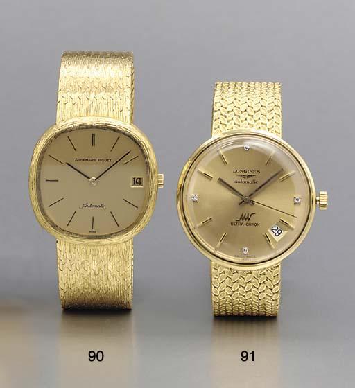 Audemars Piguet. An 18K gold self-winding wristwatch with date and bracelet