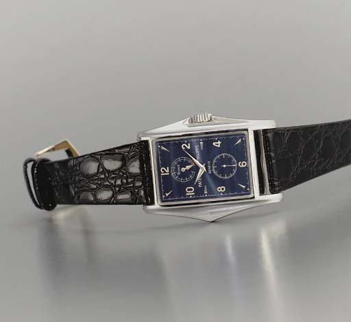 Patek Philippe. A fine and limited production 18K white gold rectangular-shaped wristwatch with ten-day power reserve