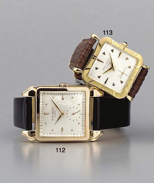 Patek Philippe. A fine 18K pink gold square-shaped wristwatch