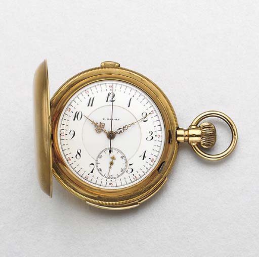 E. Mathey. A 14K gold hunter case minute repeating chronograph keyless lever watch