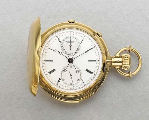 Jules Jurgensen. An 18K gold hunter case minute repeating split-second chronograph keyless lever watch