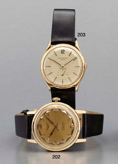 Longines. An 18K pink gold sel