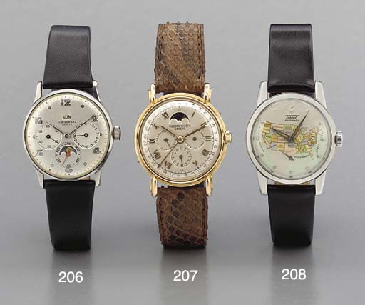 Universal. A steel triple calendar wriswatch with phases of the moon