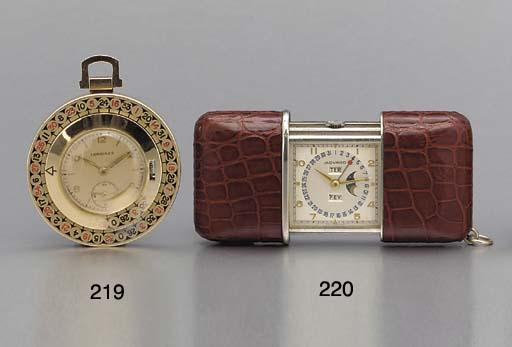 Longines. An unusual 14K gold openface keyless lever watch with roulette wheel bezel
