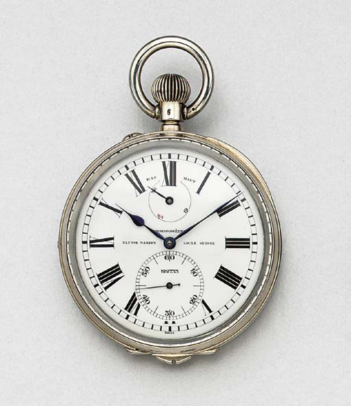Ulysse Nardin. A fine sterling silver openface keyless lever deckwatch with up and down indicator and electrical timing device