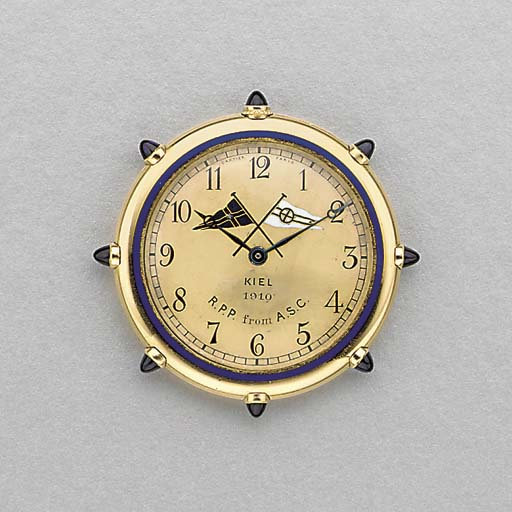 Cartier. A fine and rare 18K gold, enamel and sapphire-set openface keyless lever dress watch