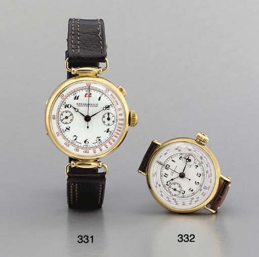 Eberhard. An early 18K gold hinged single-button chronograph wristwatch with enamel dial