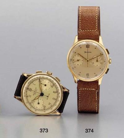 Helvetia. An 18K gold chronogr