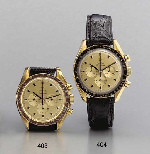 Omega. An 18K gold tonneau-shaped water-resistant chronograph wristwatch