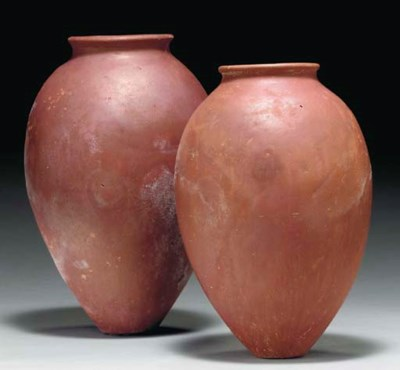 TWO EGYPTIAN RED-POLISHED POTT