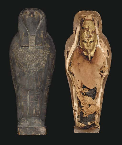 AN EGYPTIAN FALCON MUMMY AND S