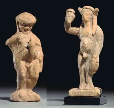 TWO GREEK TERRACOTTA FIGURES
