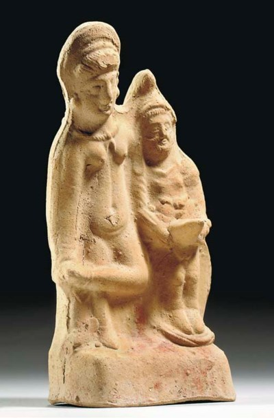 A GREEK TERRACOTTA COUPLE