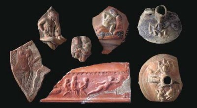 SEVEN ROMAN POTTERY FRAGMENTS