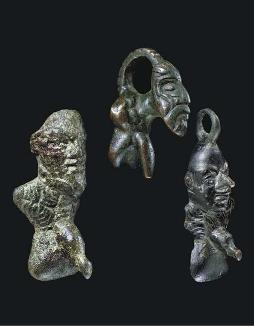 THREE ROMAN BRONZE GROTESQUE P
