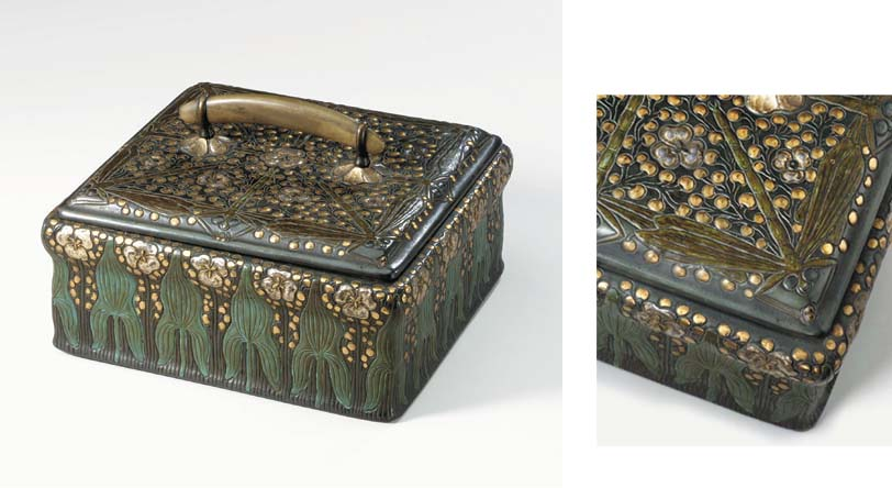 A POLYCHROME-PATINATED, SILVER AND GOLD-DECORATED COPPER CIGAR BOX AND COVER