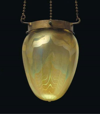 A DECORATED FAVRILE GLASS CEIL